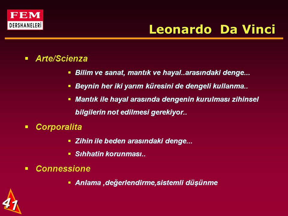 40 Leonardo Da Vinci  Curiosita  Hayata tatmin olmayan meraklı bir yaklaşım  O ihtirası meraka dönüştürmüştü S.Freud  Not tutma alışkanlığı...Fıkr