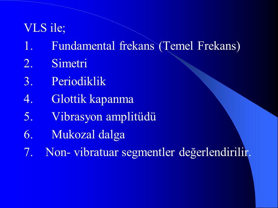 VLS ile; 1. Fundamental frekans (Temel Frekans) 2. Simetri 3. Periodiklik 4. Glottik kapanma 5. Vibrasyon amplitüdü 6. Mukozal dalga 7. Non- vibratuar