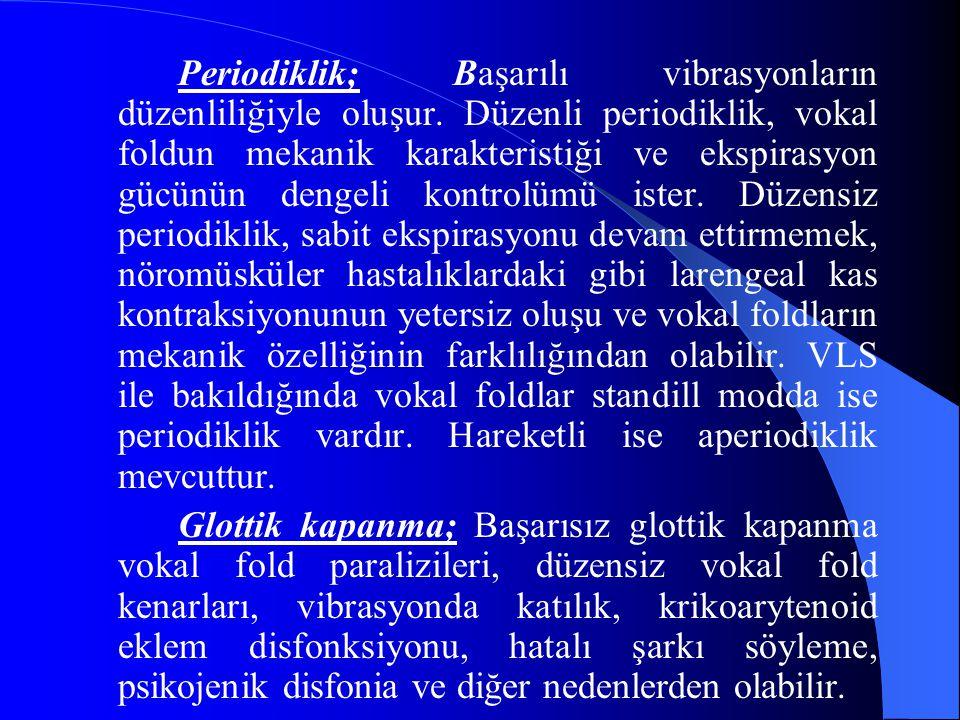 Periodiklik; Başarılı vibrasyonların düzenliliğiyle oluşur. Düzenli periodiklik, vokal foldun mekanik karakteristiği ve ekspirasyon gücünün dengeli ko