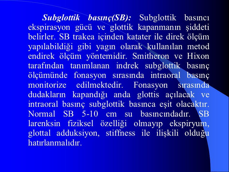 Subglottik basınç(SB): Subglottik basıncı ekspirasyon gücü ve glottik kapanmanın şiddeti belirler. SB trakea içinden katater ile direk ölçüm yapılabil