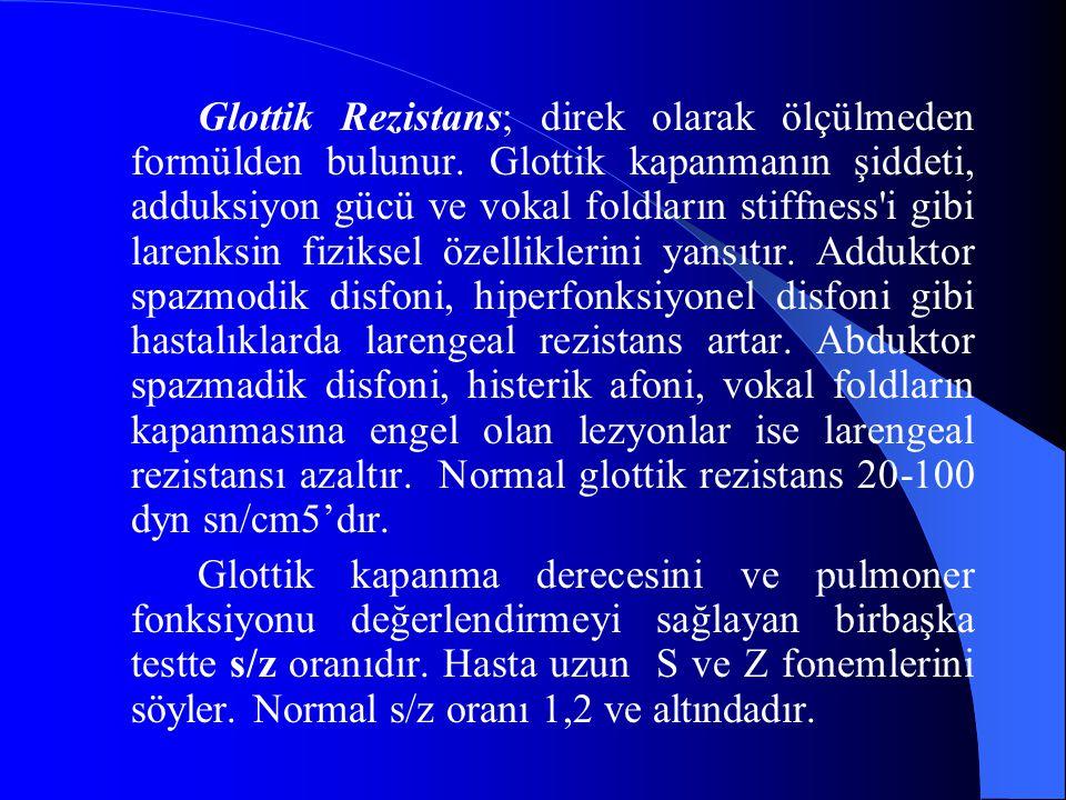 Glottik Rezistans; direk olarak ölçülmeden formülden bulunur. Glottik kapanmanın şiddeti, adduksiyon gücü ve vokal foldların stiffness'i gibi larenksi