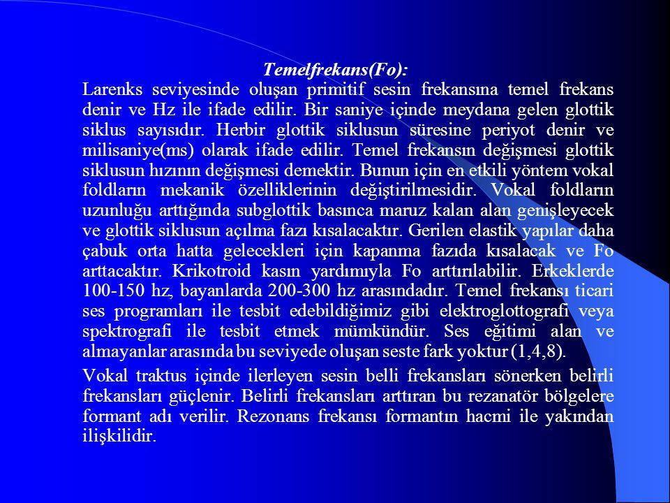 Temelfrekans(Fo): Larenks seviyesinde oluşan primitif sesin frekansına temel frekans denir ve Hz ile ifade edilir. Bir saniye içinde meydana gelen glo