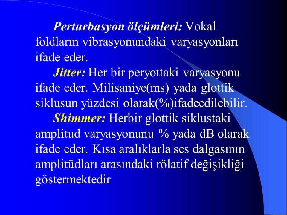 Perturbasyon ölçümleri: Vokal foldların vibrasyonundaki varyasyonları ifade eder. Jitter: Her bir peryottaki varyasyonu ifade eder. Milisaniye(ms) yad