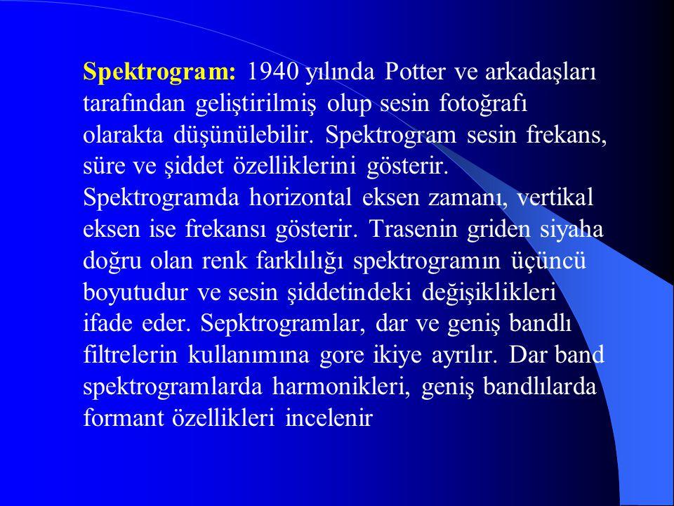 Spektrogram: 1940 yılında Potter ve arkadaşları tarafından geliştirilmiş olup sesin fotoğrafı olarakta düşünülebilir. Spektrogram sesin frekans, süre