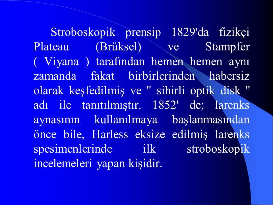 Stroboskopik prensip 1829'da fizikçi Plateau (Brüksel) ve Stampfer ( Viyana ) tarafından hemen hemen aynı zamanda fakat birbirlerinden habersiz olarak