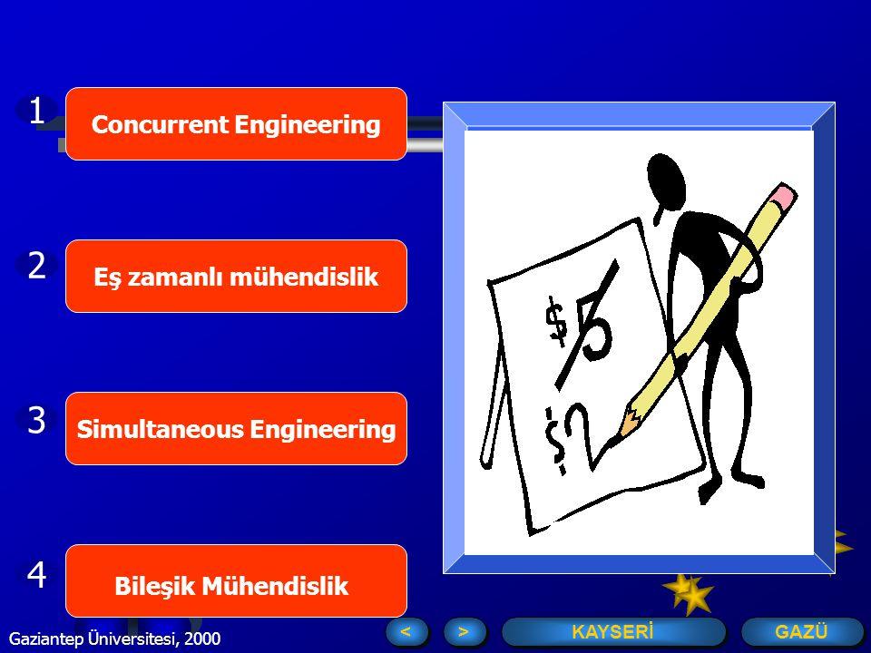 GAZÜ KAYSERİ > > < < Gaziantep Üniversitesi, 2000 Concurrent Engineering Eş zamanlı mühendislik Bileşik Mühendislik Simultaneous Engineering 1 2 3 4