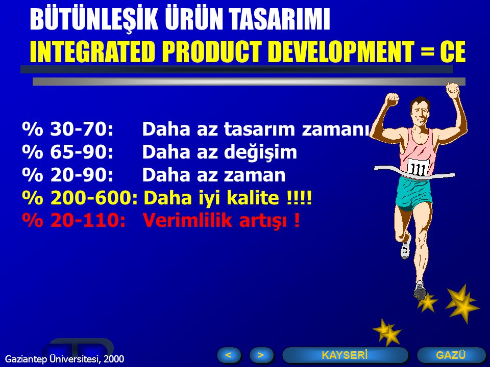 GAZÜ KAYSERİ > > < < Gaziantep Üniversitesi, 2000 % 30-70: Daha az tasarım zamanı % 65-90: Daha az değişim % 20-90: Daha az zaman % 200-600: Daha iyi kalite !!!.