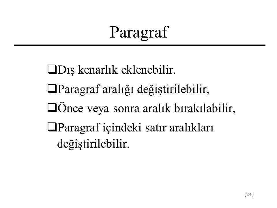 (24) Paragraf  Dış kenarlık eklenebilir.  Paragraf aralığı değiştirilebilir,  Önce veya sonra aralık bırakılabilir,  Paragraf içindeki satır aralı