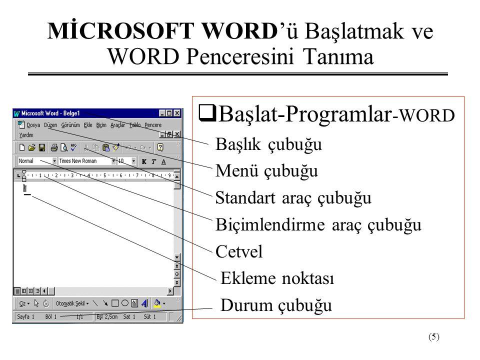 (5) MİCROSOFT WORD'ü Başlatmak ve WORD Penceresini Tanıma  Başlat-Programlar -WORD Başlık çubuğu Menü çubuğu Standart araç çubuğu Biçimlendirme araç