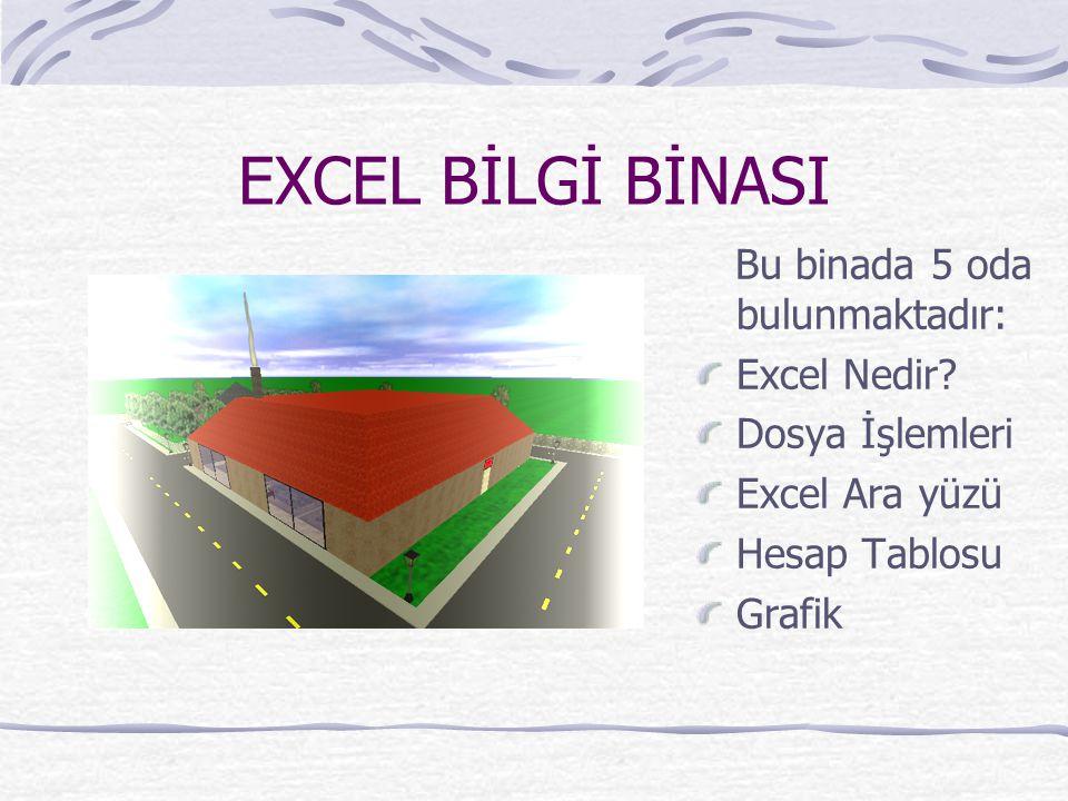 EXCEL BİLGİ BİNASI Bu binada 5 oda bulunmaktadır: Excel Nedir? Dosya İşlemleri Excel Ara yüzü Hesap Tablosu Grafik