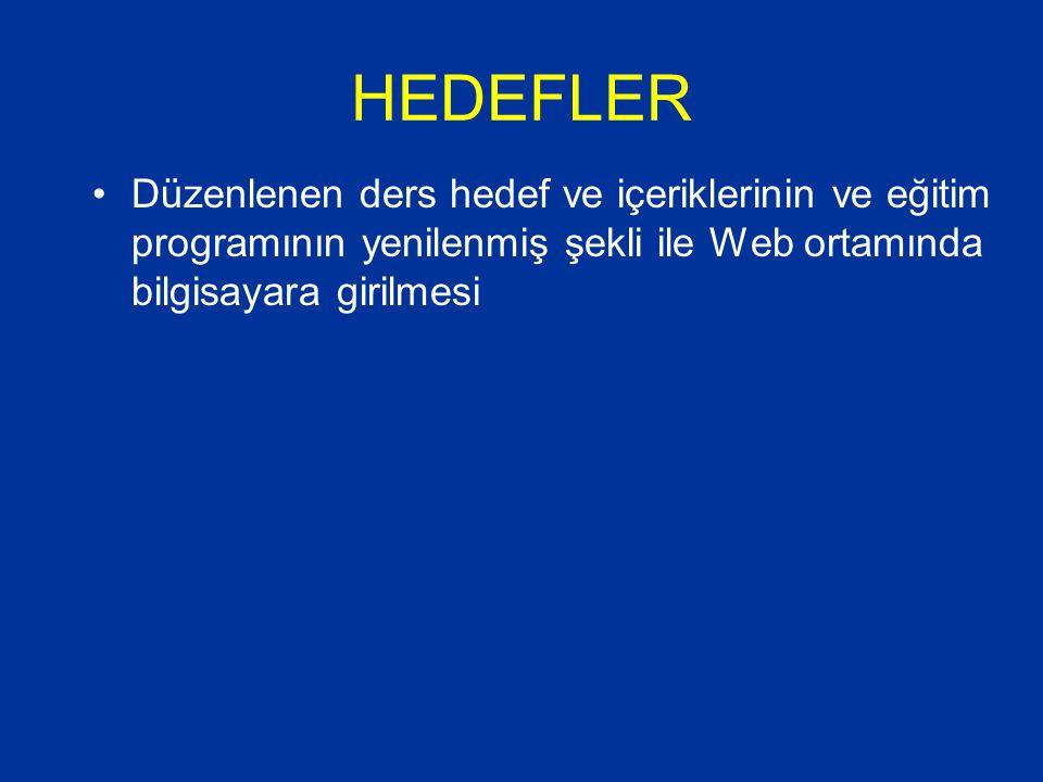 HEDEFLER Düzenlenen ders hedef ve içeriklerinin ve eğitim programının yenilenmiş şekli ile Web ortamında bilgisayara girilmesi