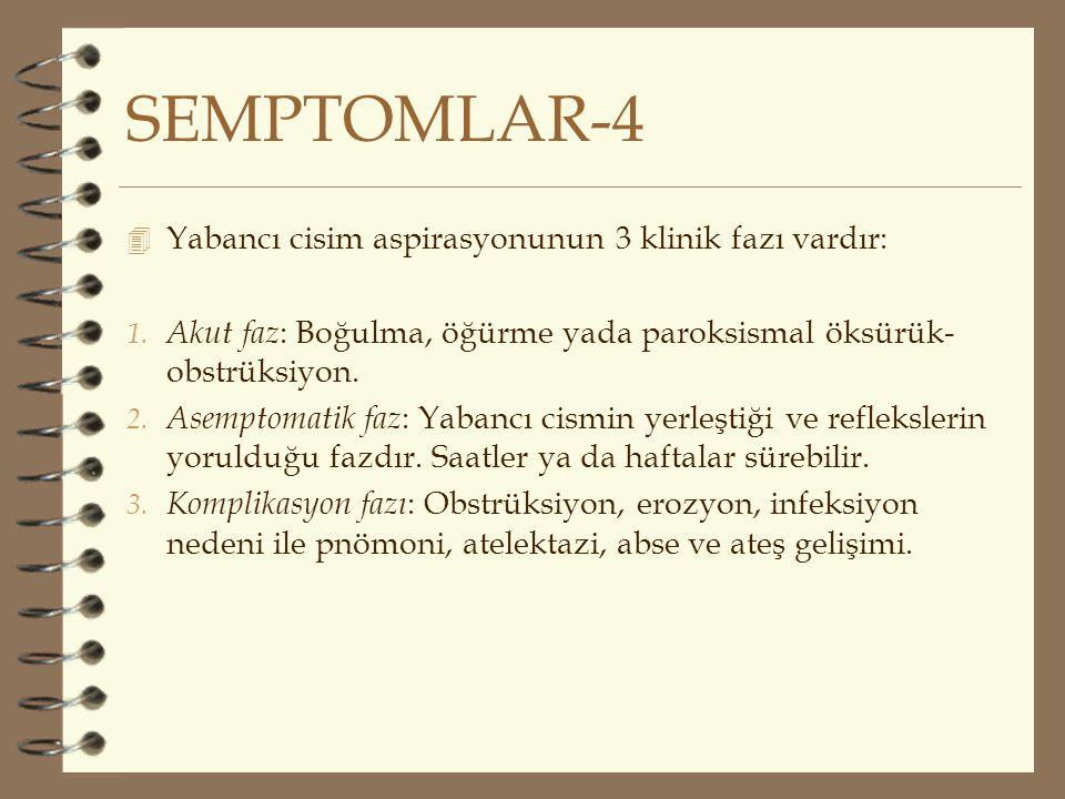 SEMPTOMLAR-4 4 Yabancı cisim aspirasyonunun 3 klinik fazı vardır: 1. Akut faz : Boğulma, öğürme yada paroksismal öksürük- obstrüksiyon. 2. Asemptomati