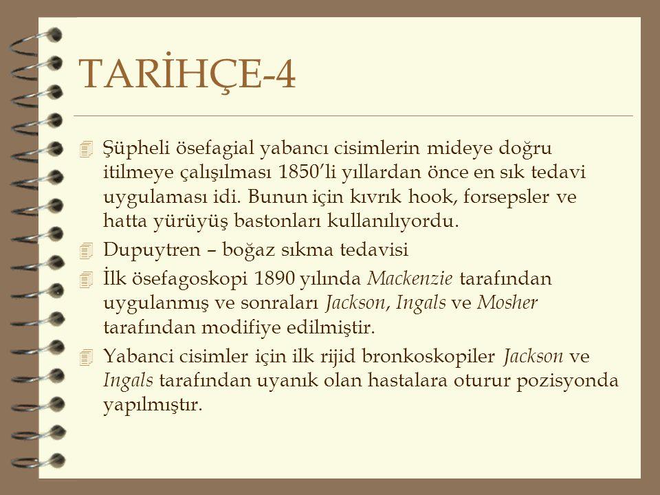 TARİHÇE-4 4 Şüpheli ösefagial yabancı cisimlerin mideye doğru itilmeye çalışılması 1850'li yıllardan önce en sık tedavi uygulaması idi. Bunun için kıv