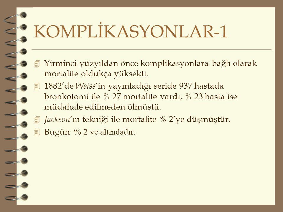 KOMPLİKASYONLAR-1 4 Yirminci yüzyıldan önce komplikasyonlara bağlı olarak mortalite oldukça yüksekti. 4 1882'de Weiss 'in yayınladığı seride 937 hasta