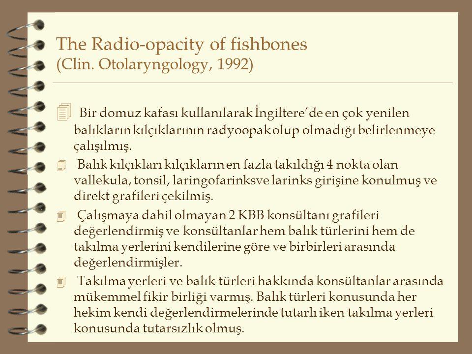 The Radio-opacity of fishbones (Clin. Otolaryngology, 1992)  Bir domuz kafası kullanılarak İngiltere'de en çok yenilen balıkların kılçıklarının radyo