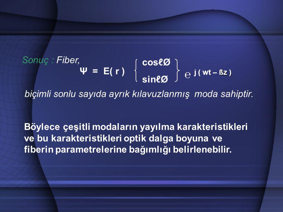 Sonuç : Fiber, biçimli sonlu sayıda ayrık kılavuzlanmış moda sahiptir. ßz ) ℮ j ( wt – ßz ) cosℓØ sinℓØ Ψ = E( r ) Böylece çeşitli modaların yayılma k