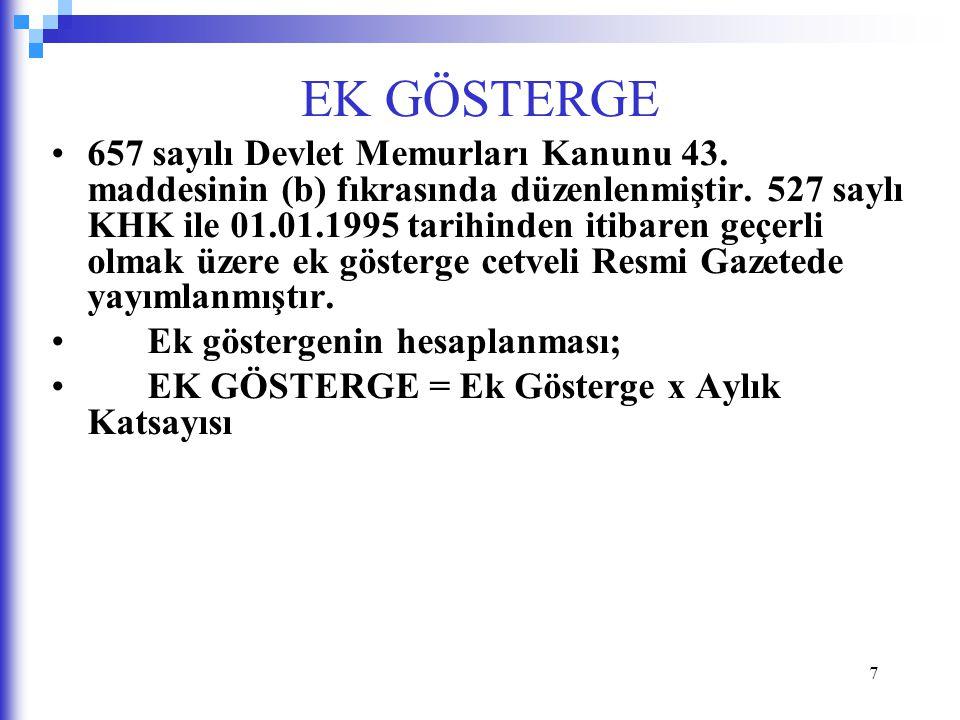7 EK GÖSTERGE 657 sayılı Devlet Memurları Kanunu 43.