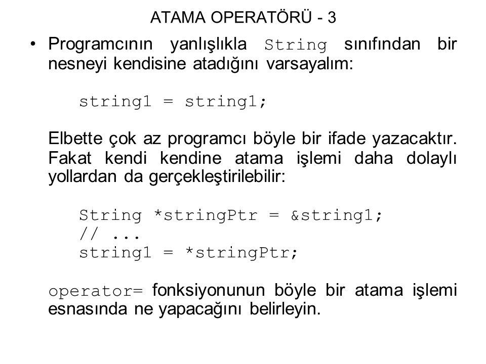 ATAMA OPERATÖRÜ - 3 Programcının yanlışlıkla String sınıfından bir nesneyi kendisine atadığını varsayalım: string1 = string1; Elbette çok az programcı böyle bir ifade yazacaktır.