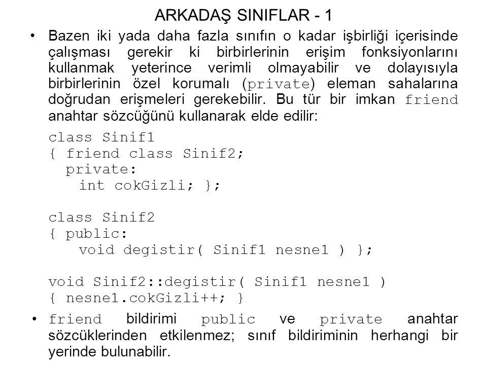 ARKADAŞ SINIFLAR - 1 Bazen iki yada daha fazla sınıfın o kadar işbirliği içerisinde çalışması gerekir ki birbirlerinin erişim fonksiyonlarını kullanmak yeterince verimli olmayabilir ve dolayısıyla birbirlerinin özel korumalı ( private ) eleman sahalarına doğrudan erişmeleri gerekebilir.