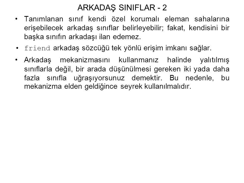 ARKADAŞ SINIFLAR - 2 Tanımlanan sınıf kendi özel korumalı eleman sahalarına erişebilecek arkadaş sınıflar belirleyebilir; fakat, kendisini bir başka sınıfın arkadaşı ilan edemez.