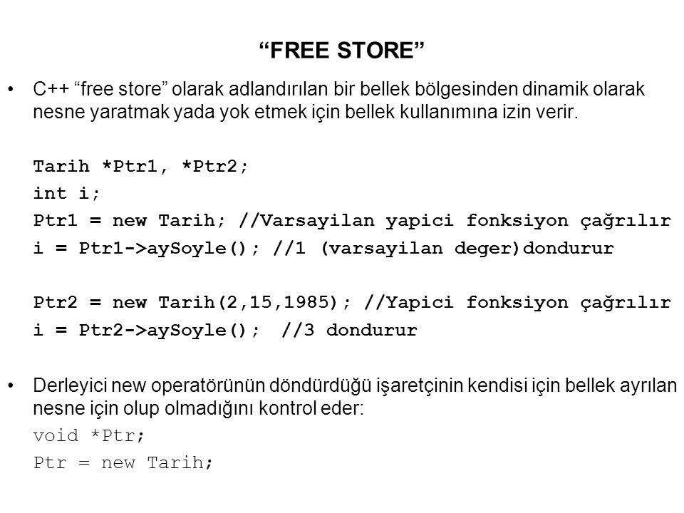 FREE STORE C++ free store olarak adlandırılan bir bellek bölgesinden dinamik olarak nesne yaratmak yada yok etmek için bellek kullanımına izin verir.