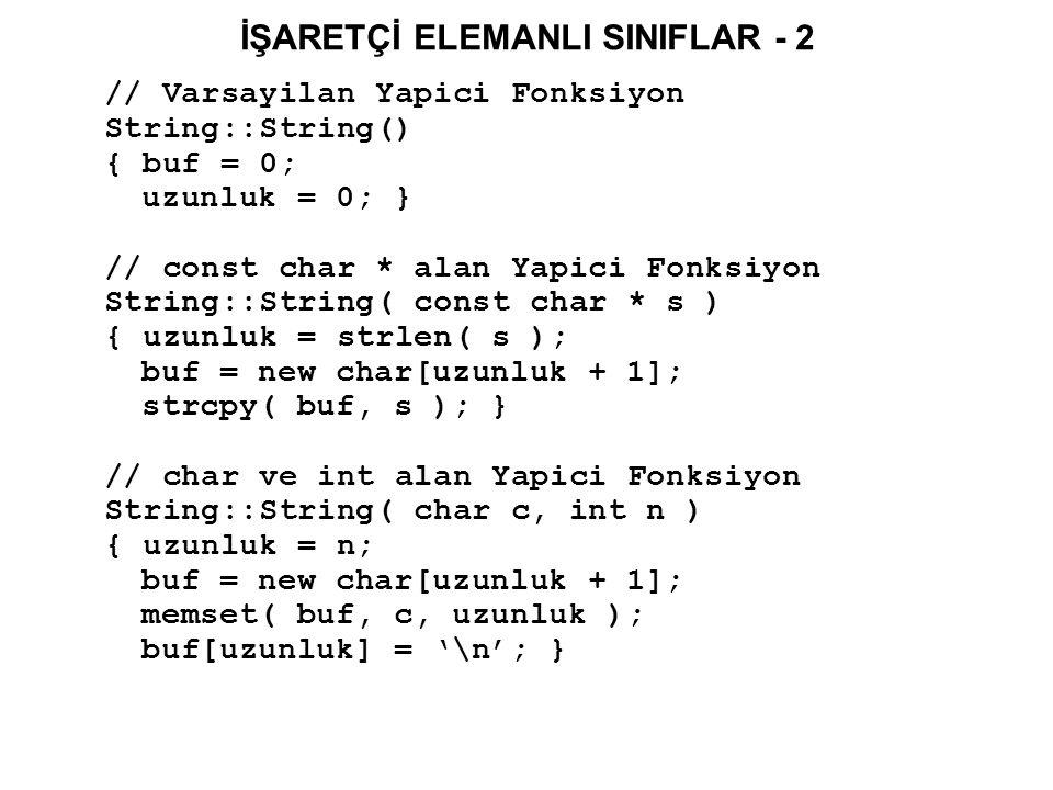 İŞARETÇİ ELEMANLI SINIFLAR - 3 // String içinde bir karakterin belirlenmesi void String::belirle( int index, char yeniK) { if( (index >0) && (index <= uzunluk) ) buf[index - 1] = yeniK ; } // String içinden bir karakterin okunmasi char String::soyle( int index ) const { if( (index >0) && (index <= uzunluk) ) return buf[index - 1]; else return 0; } // Yikici Fonksiyon String::~String() { delete [] buf; } int main() { String string1( birinci Karakter Katari ); string1.belirle(1, 'B'); return 0; }
