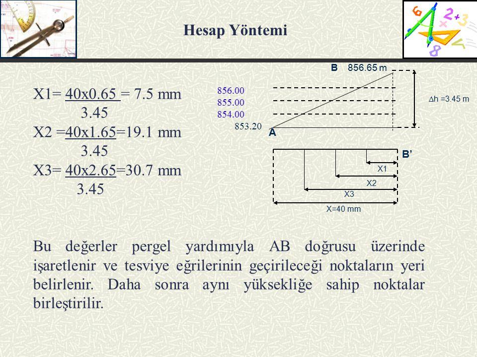 X1= 40x0.65 = 7.5 mm 3.45 X2 =40x1.65=19.1 mm 3.45 X3= 40x2.65=30.7 mm 3.45 Bu değerler pergel yardımıyla AB doğrusu üzerinde işaretlenir ve tesviye eğrilerinin geçirileceği noktaların yeri belirlenir.