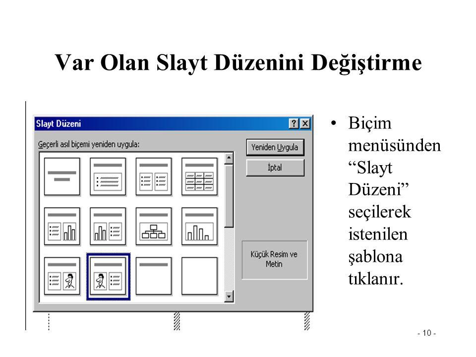 - 9 - PowerPoint Görünümleri (4) Notlar Sayfası Görünümü