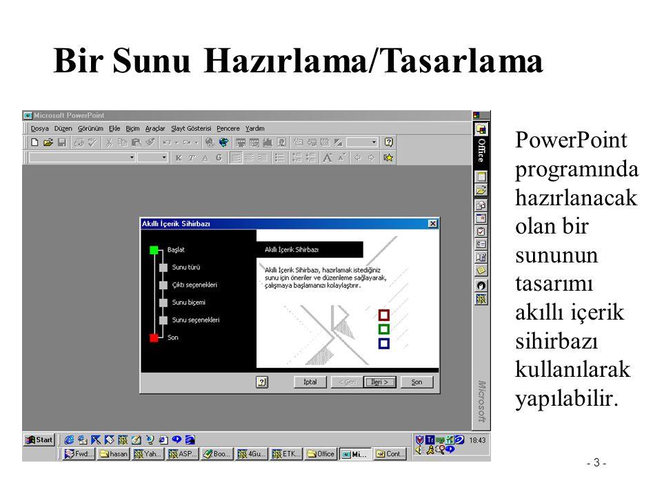 - 3 - Powerpoint PowerPoint programında hazırlanacak olan bir sununun tasarımı akıllı içerik sihirbazı kullanılarak yapılabilir.
