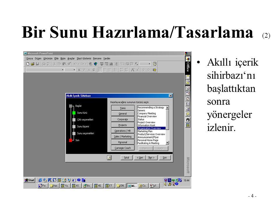 - 3 - Powerpoint PowerPoint programında hazırlanacak olan bir sununun tasarımı akıllı içerik sihirbazı kullanılarak yapılabilir. Bir Sunu Hazırlama/Ta