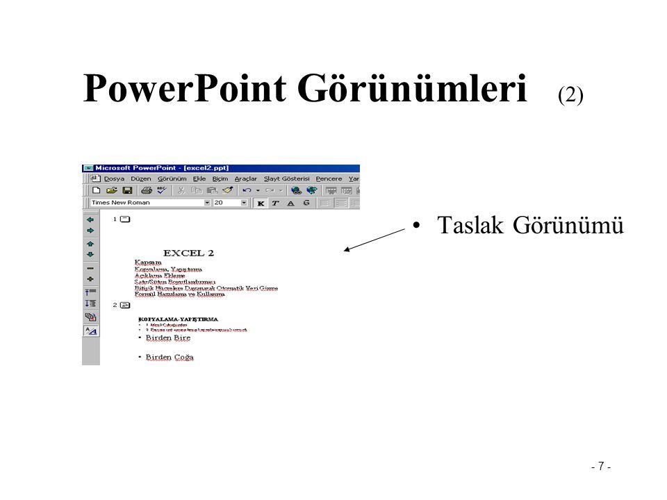 - 6 - PowerPoint Görünümleri (1) Slayt Görünümü