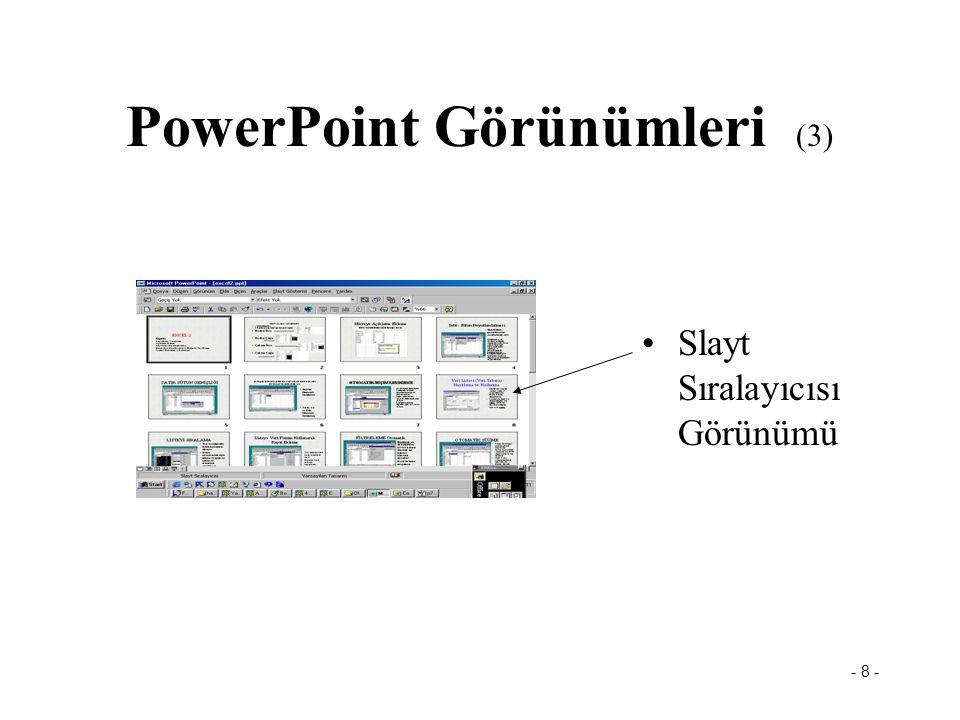 - 8 - PowerPoint Görünümleri (3) Slayt Sıralayıcısı Görünümü