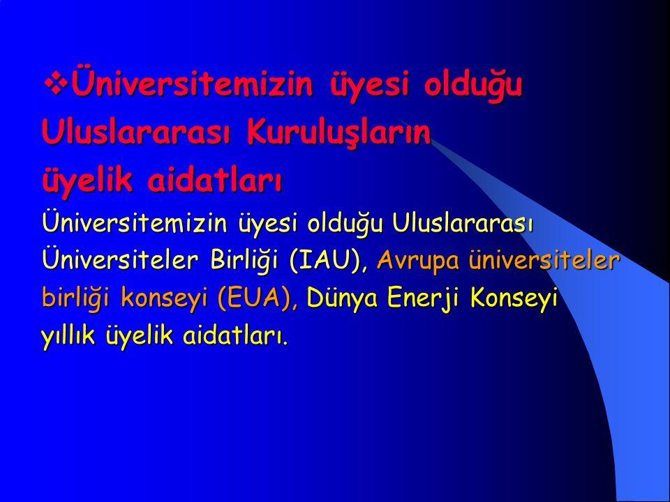  Üniversitemizin üyesi olduğu Uluslararası Kuruluşların üyelik aidatları Üniversitemizin üyesi olduğu Uluslararası Üniversiteler Birliği (IAU), Avrupa üniversiteler birliği konseyi (EUA), Dünya Enerji Konseyi yıllık üyelik aidatları.
