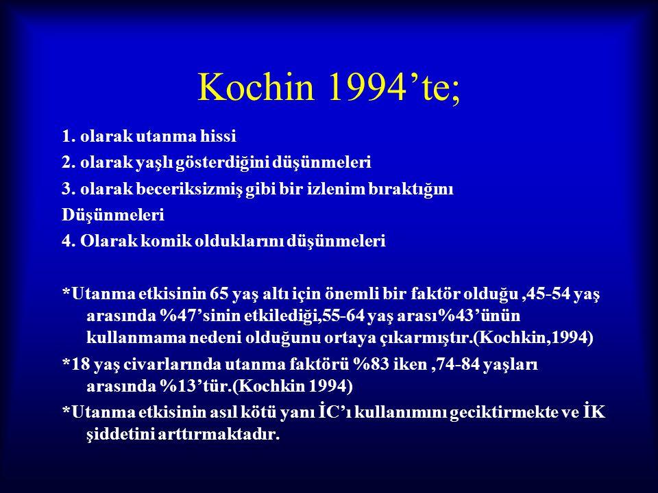 Kochin 1994'te; 1. olarak utanma hissi 2. olarak yaşlı gösterdiğini düşünmeleri 3. olarak beceriksizmiş gibi bir izlenim bıraktığını Düşünmeleri 4. Ol