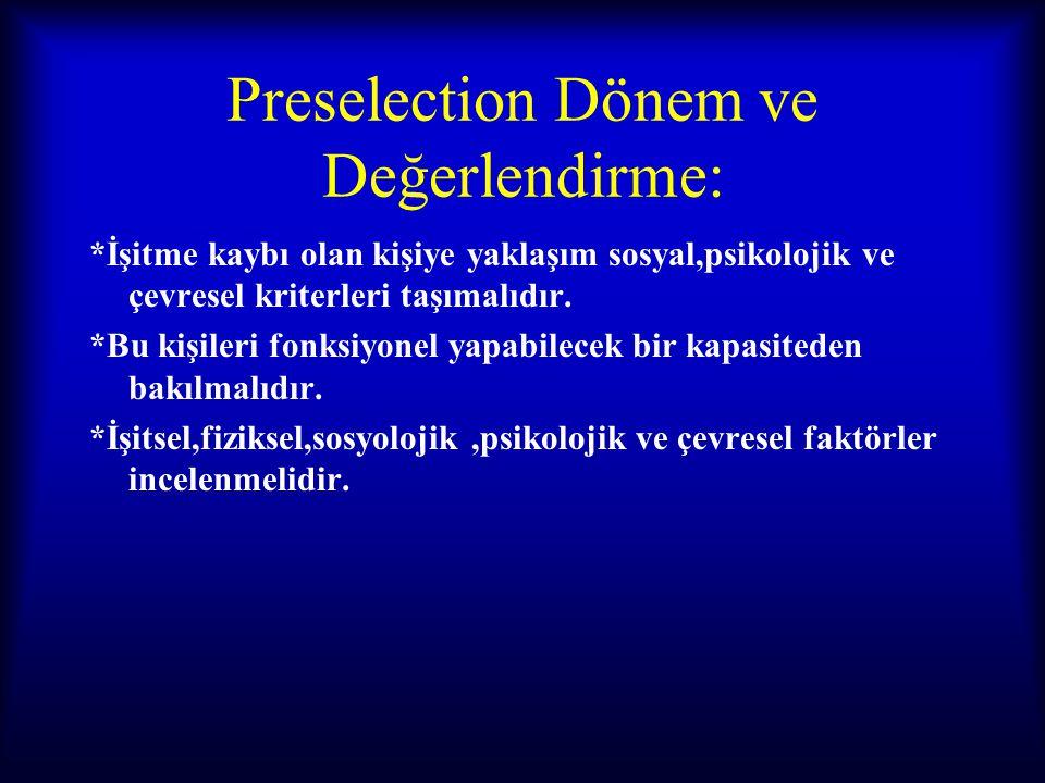 Preselection Dönem ve Değerlendirme: *İşitme kaybı olan kişiye yaklaşım sosyal,psikolojik ve çevresel kriterleri taşımalıdır. *Bu kişileri fonksiyonel