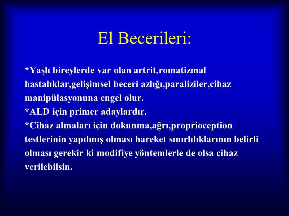 El Becerileri: *Yaşlı bireylerde var olan artrit,romatizmal hastalıklar,gelişimsel beceri azlığı,paraliziler,cihaz manipülasyonuna engel olur. *ALD iç