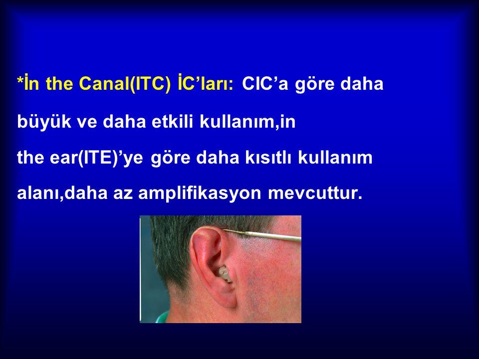 *İn the Canal(ITC) İC'ları: CIC'a göre daha büyük ve daha etkili kullanım,in the ear(ITE)'ye göre daha kısıtlı kullanım alanı,daha az amplifikasyon me