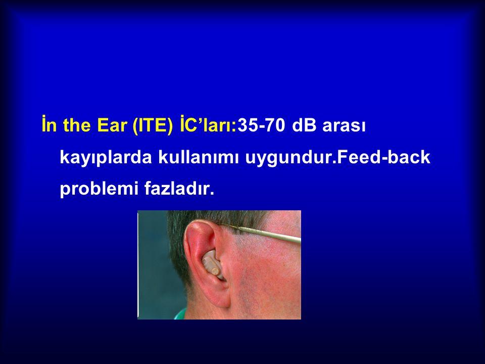 İn the Ear (ITE) İC'ları:35-70 dB arası kayıplarda kullanımı uygundur.Feed-back problemi fazladır.