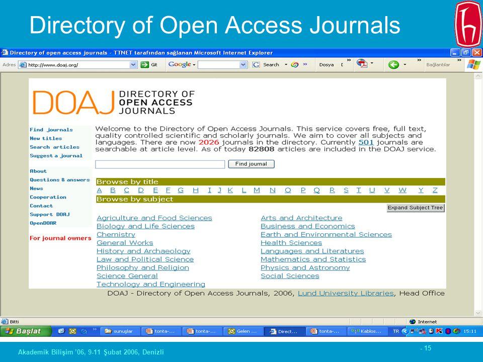 - 15 Akademik Bilişim '06, 9-11 Şubat 2006, Denizli Directory of Open Access Journals