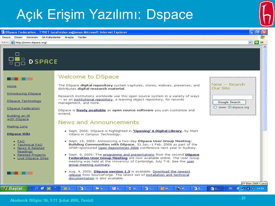- 29 Akademik Bilişim '06, 9-11 Şubat 2006, Denizli Açık Erişim Yazılımı: Dspace