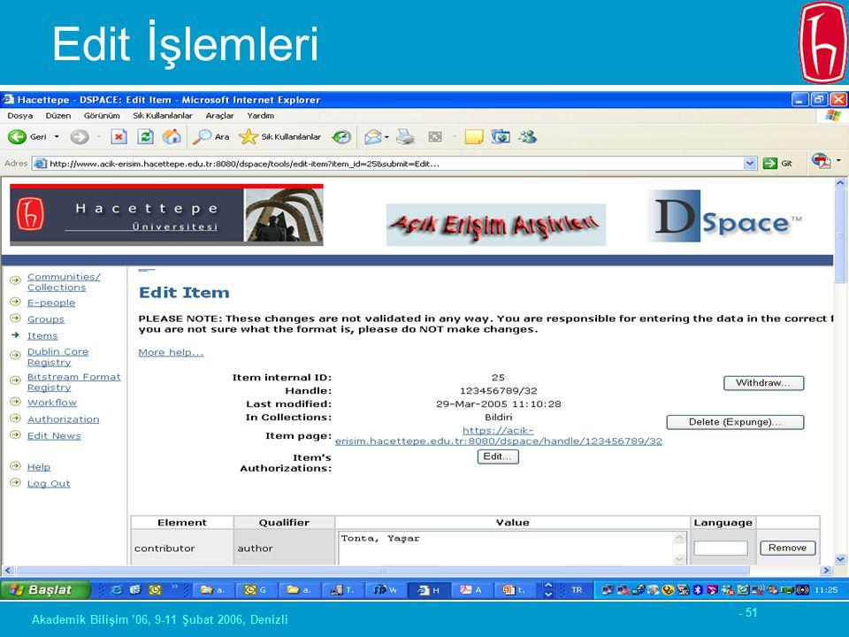- 51 Akademik Bilişim '06, 9-11 Şubat 2006, Denizli Edit İşlemleri