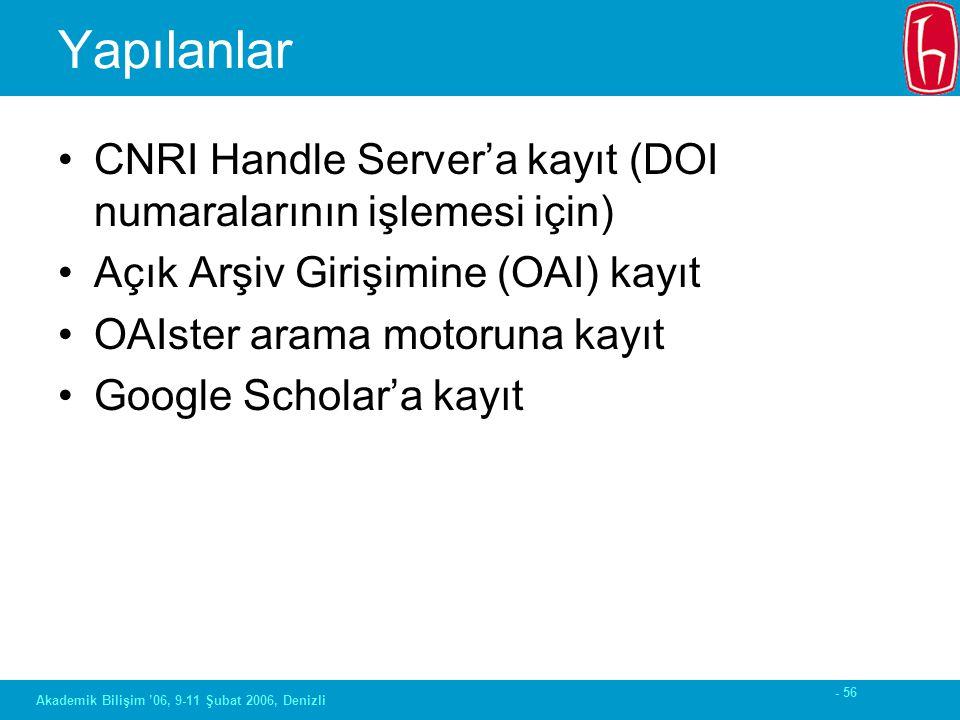 - 56 Akademik Bilişim '06, 9-11 Şubat 2006, Denizli Yapılanlar CNRI Handle Server'a kayıt (DOI numaralarının işlemesi için) Açık Arşiv Girişimine (OAI