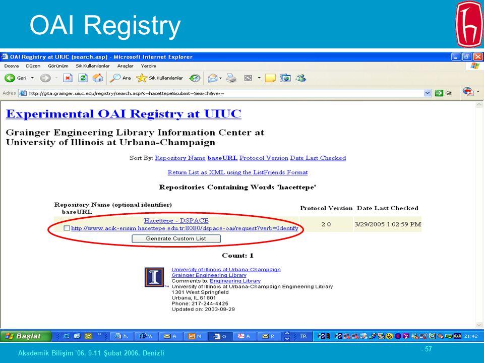 - 57 Akademik Bilişim '06, 9-11 Şubat 2006, Denizli OAI Registry