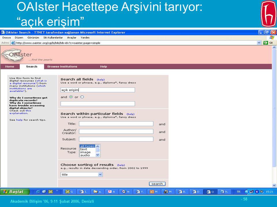 """- 58 Akademik Bilişim '06, 9-11 Şubat 2006, Denizli OAIster Hacettepe Arşivini tarıyor: """"açık erişim"""""""
