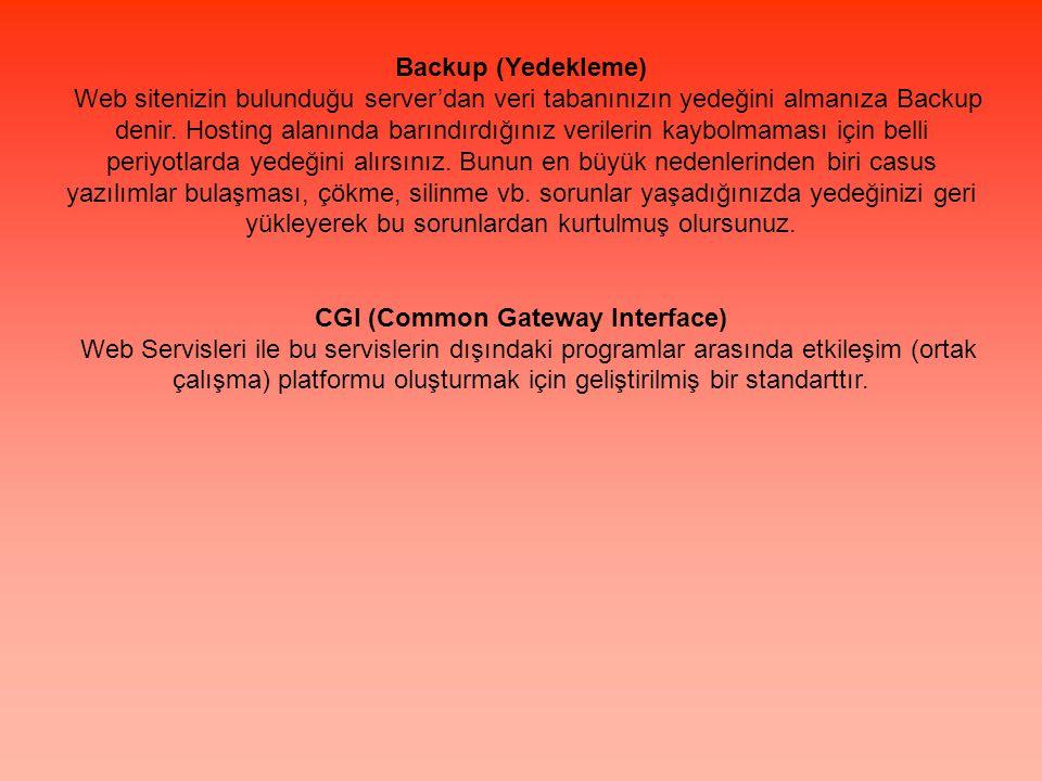 Backup (Yedekleme) Web sitenizin bulunduğu server'dan veri tabanınızın yedeğini almanıza Backup denir. Hosting alanında barındırdığınız verilerin kayb