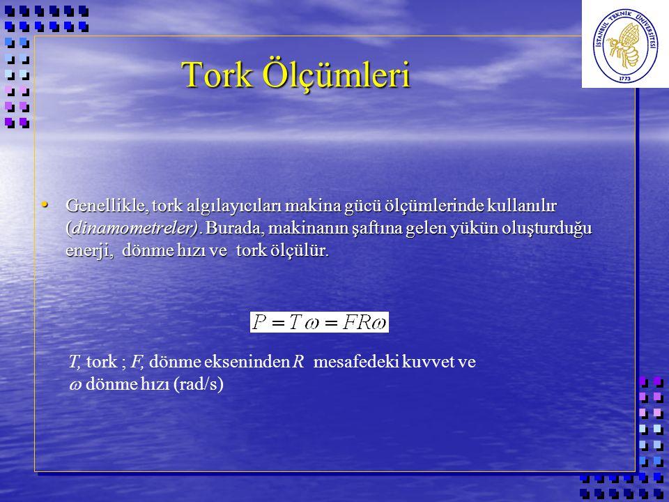 Tork Ölçümleri Genellikle, tork algılayıcıları makina gücü ölçümlerinde kullanılır (dinamometreler).