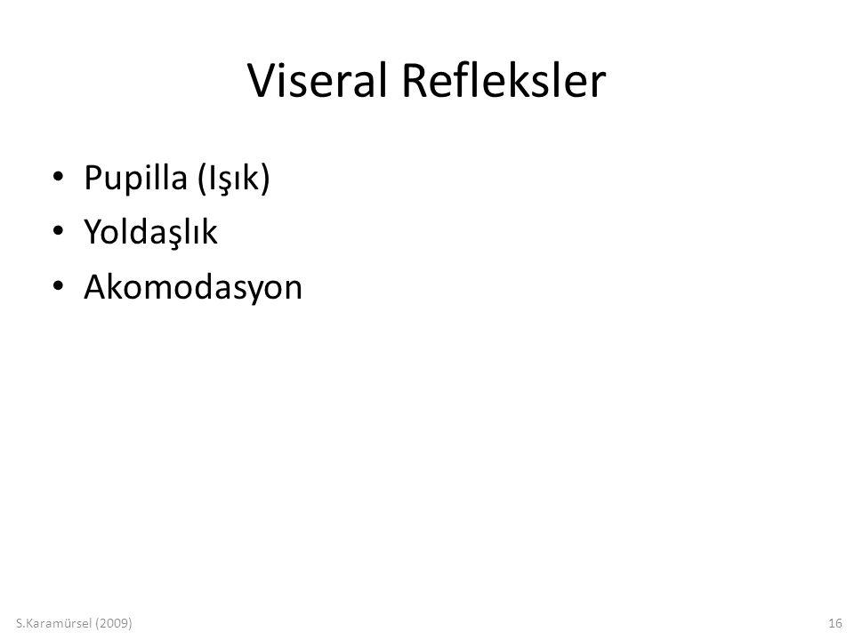 S.Karamürsel (2009)16 Viseral Refleksler Pupilla (Işık) Yoldaşlık Akomodasyon