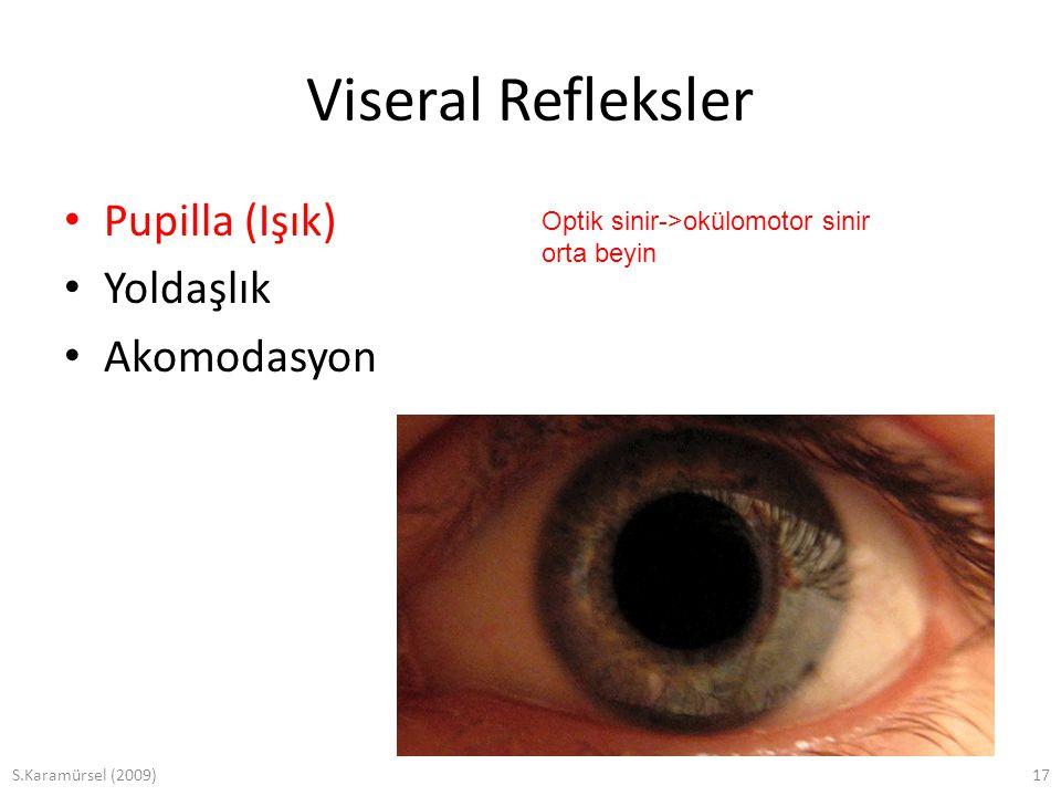 S.Karamürsel (2009)17 Viseral Refleksler Pupilla (Işık) Yoldaşlık Akomodasyon Optik sinir->okülomotor sinir orta beyin