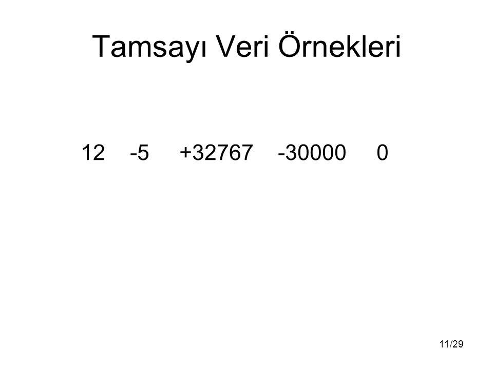 11/29 Tamsayı Veri Örnekleri 12-5+32767-300000