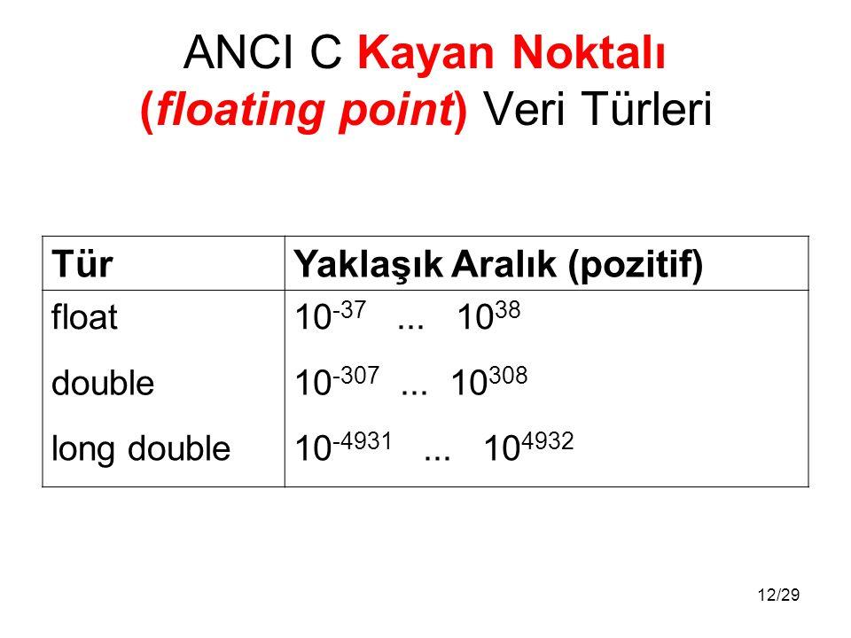 12/29 ANCI C Kayan Noktalı (floating point) Veri Türleri TürYaklaşık Aralık (pozitif) float10 -37... 10 38 double10 -307... 10 308 long double10 -4931